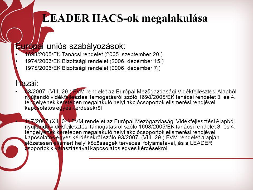 LEADER HACS-ok megalakulása Európai uniós szabályozások: 1698/2005/EK Tanácsi rendelet (2005. szeptember 20.) 1974/2006/EK Bizottsági rendelet (2006.