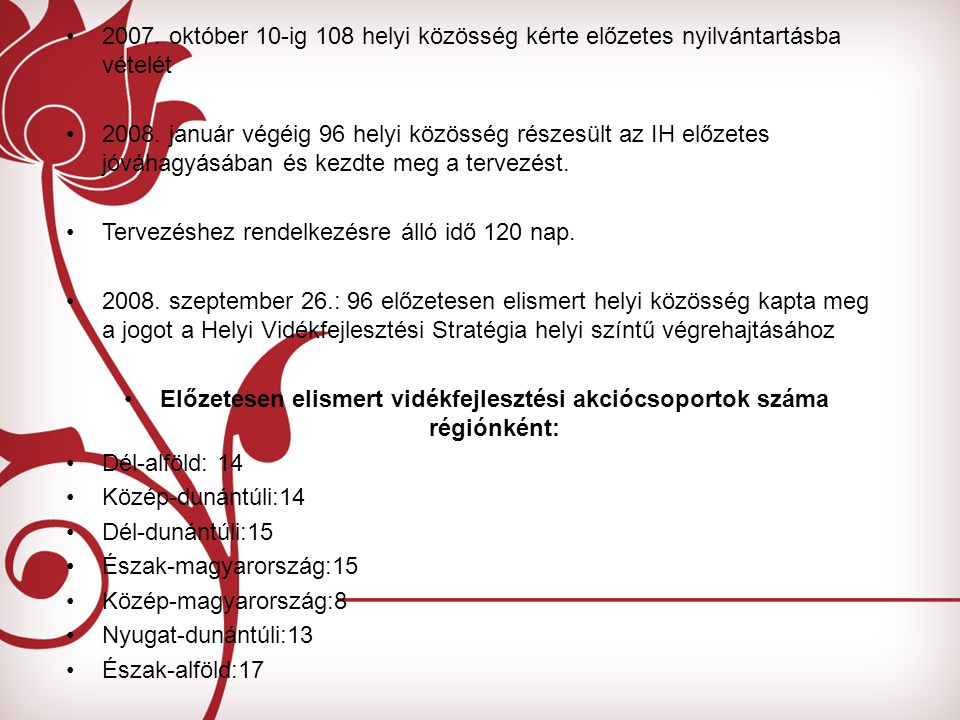 2007. október 10-ig 108 helyi közösség kérte előzetes nyilvántartásba vételét 2008. január végéig 96 helyi közösség részesült az IH előzetes jóváhagyá