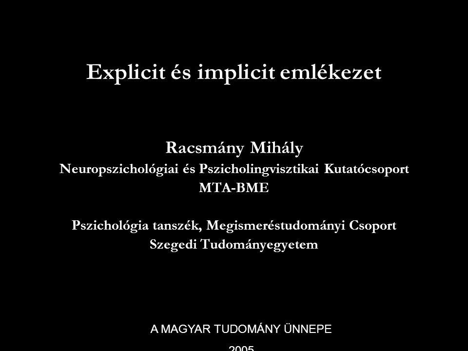 Explicit és implicit emlékezet Racsmány Mihály Neuropszichológiai és Pszicholingvisztikai Kutatócsoport MTA-BME Pszichológia tanszék, Megismeréstudomá