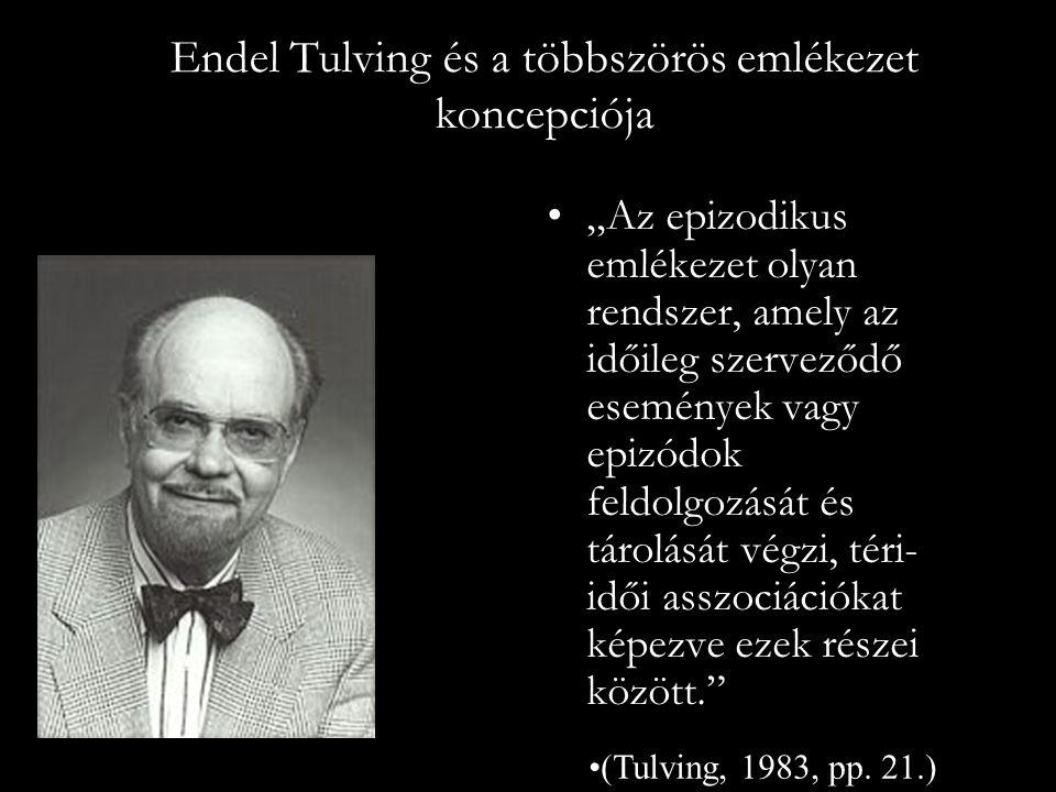 """Endel Tulving és a többszörös emlékezet koncepciója """"Az epizodikus emlékezet olyan rendszer, amely az időileg szerveződő események vagy epizódok feldo"""