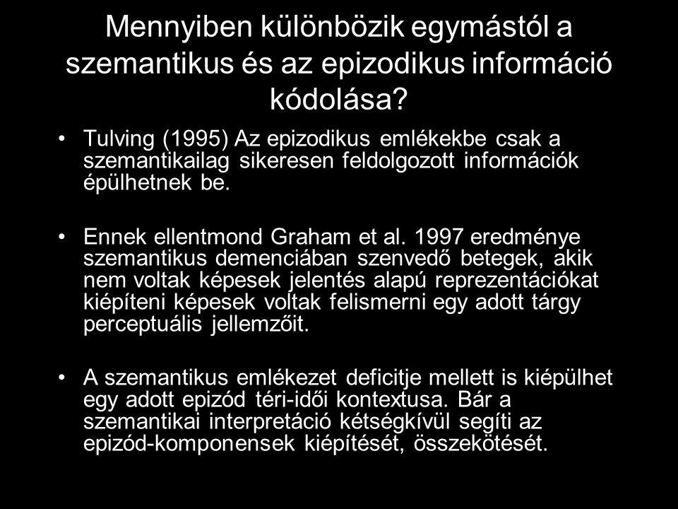 Mennyiben különbözik egymástól a szemantikus és az epizodikus információ kódolása? Tulving (1995) Az epizodikus emlékekbe csak a szemantikailag sikere