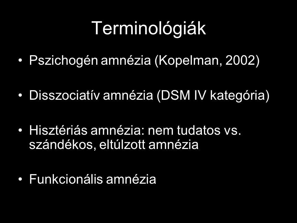 Terminológiák Pszichogén amnézia (Kopelman, 2002) Disszociatív amnézia (DSM IV kategória) Hisztériás amnézia: nem tudatos vs. szándékos, eltúlzott amn
