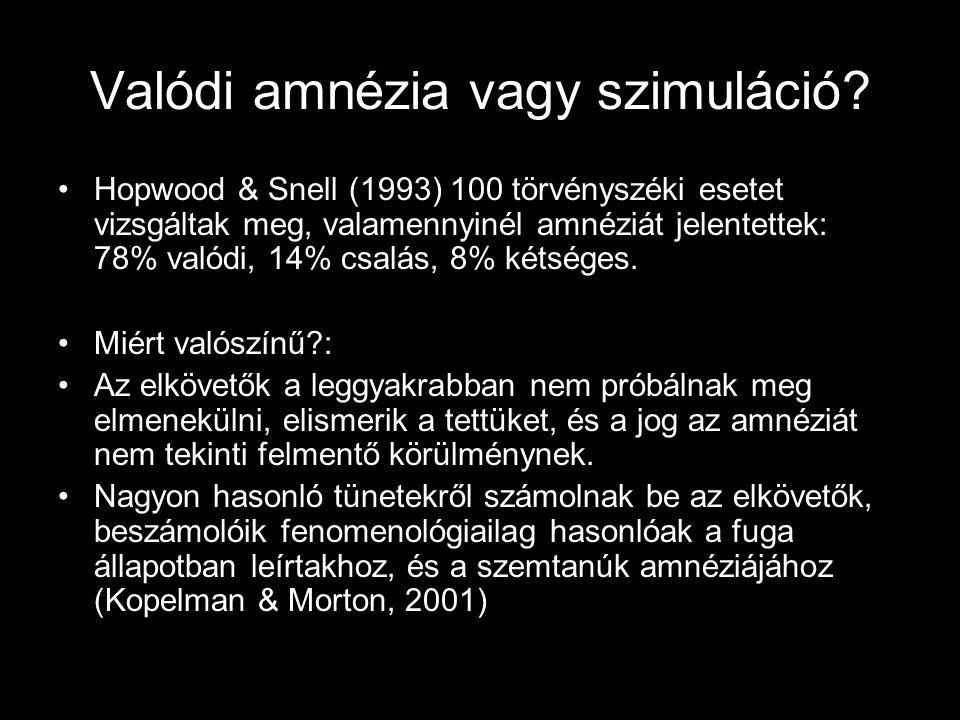 Valódi amnézia vagy szimuláció? Hopwood & Snell (1993) 100 törvényszéki esetet vizsgáltak meg, valamennyinél amnéziát jelentettek: 78% valódi, 14% csa