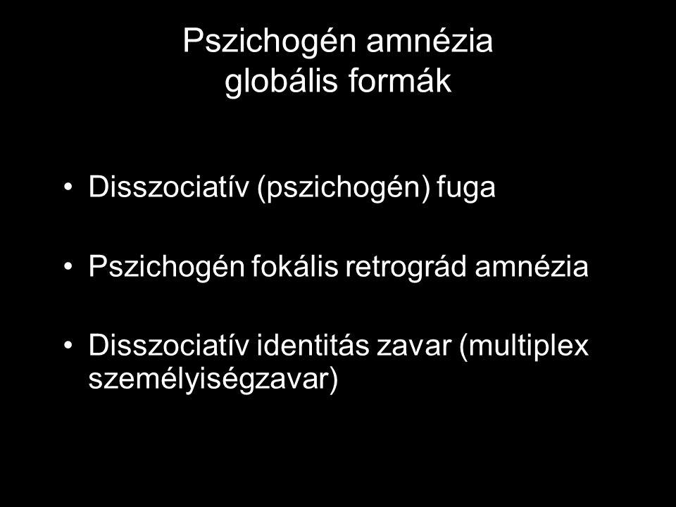 Pszichogén amnézia globális formák Disszociatív (pszichogén) fuga Pszichogén fokális retrográd amnézia Disszociatív identitás zavar (multiplex személy