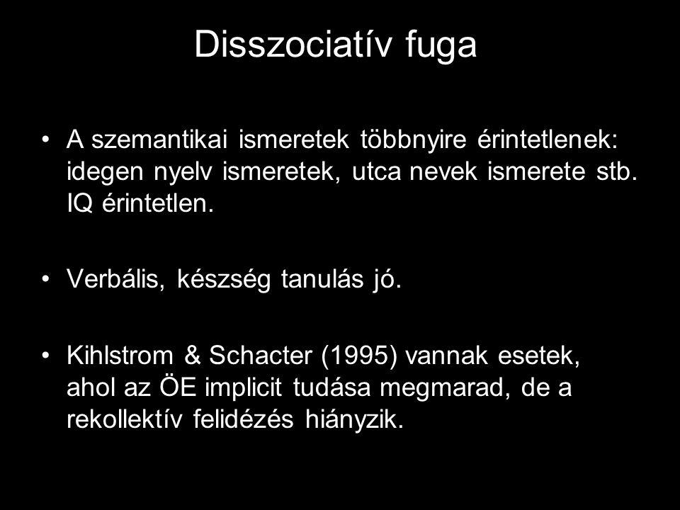 Disszociatív fuga A szemantikai ismeretek többnyire érintetlenek: idegen nyelv ismeretek, utca nevek ismerete stb. IQ érintetlen. Verbális, készség ta