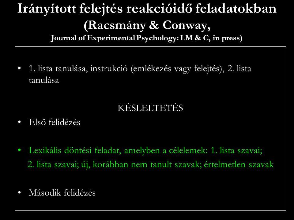 Irányított felejtés reakcióidő feladatokban (Racsmány & Conway, Journal of Experimental Psychology: LM & C, in press) 1. lista tanulása, instrukció (e