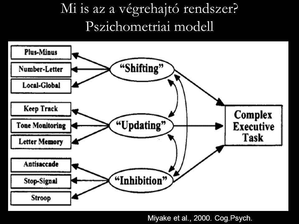 Miyake et al., 2000. Cog.Psych. Mi is az a végrehajtó rendszer? Pszichometriai modell