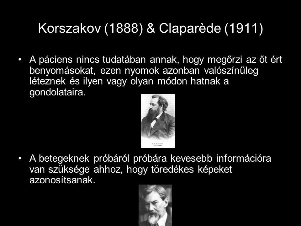 Korszakov (1888) & Claparède (1911) A páciens nincs tudatában annak, hogy megőrzi az őt ért benyomásokat, ezen nyomok azonban valószínűleg léteznek és