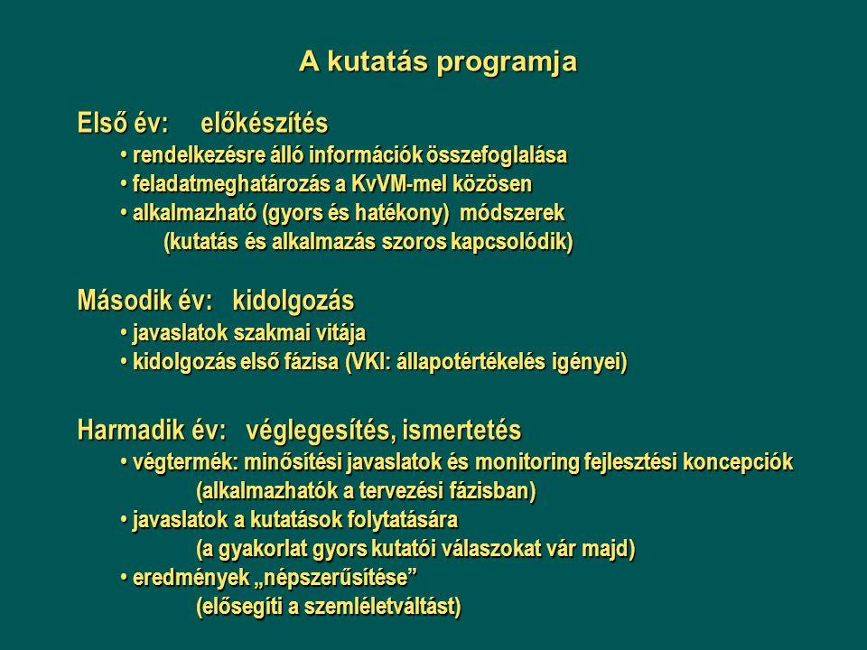 A kutatás programja Első év: előkészítés rendelkezésre álló információk összefoglalása rendelkezésre álló információk összefoglalása feladatmeghatároz