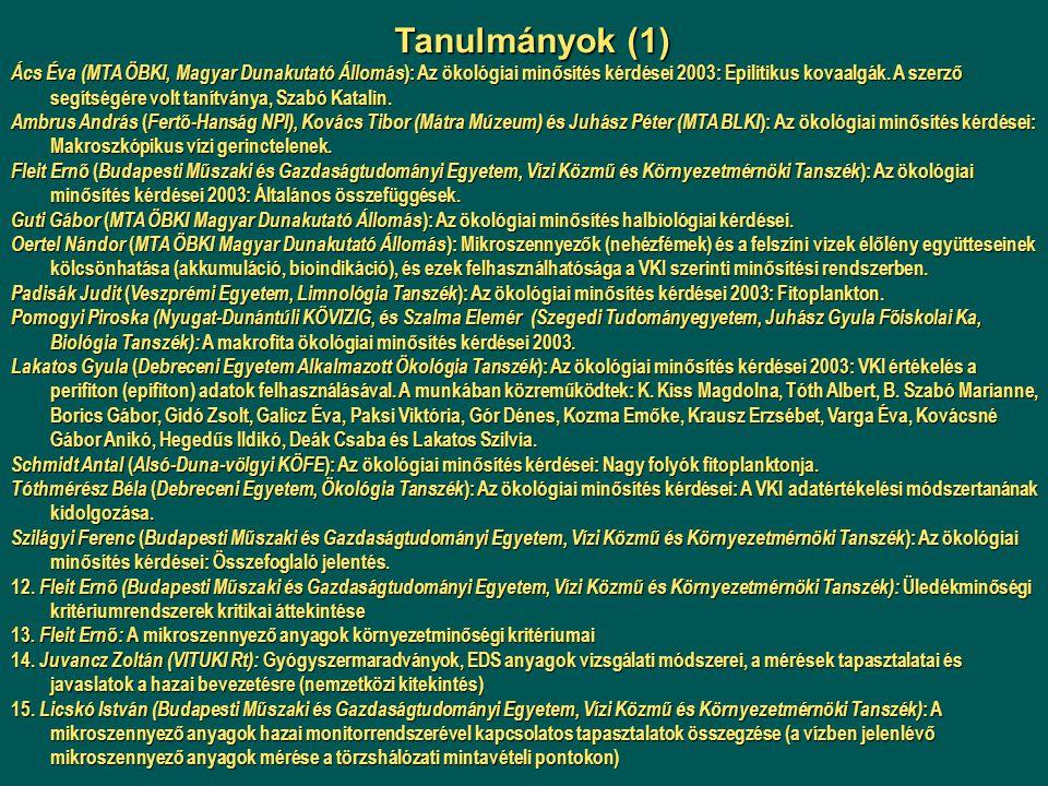 Ács Éva (MTA ÖBKI, Magyar Dunakutató Állomás ): Az ökológiai minősítés kérdései 2003: Epilitikus kovaalgák. A szerző segítségére volt tanítványa, Szab