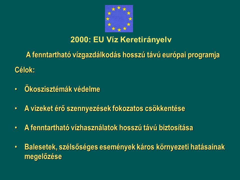 2000: EU Víz Keretirányelv A fenntartható vízgazdálkodás hosszú távú európai programja Célok: Ökoszisztémák védelme Ökoszisztémák védelme A vizeket ér