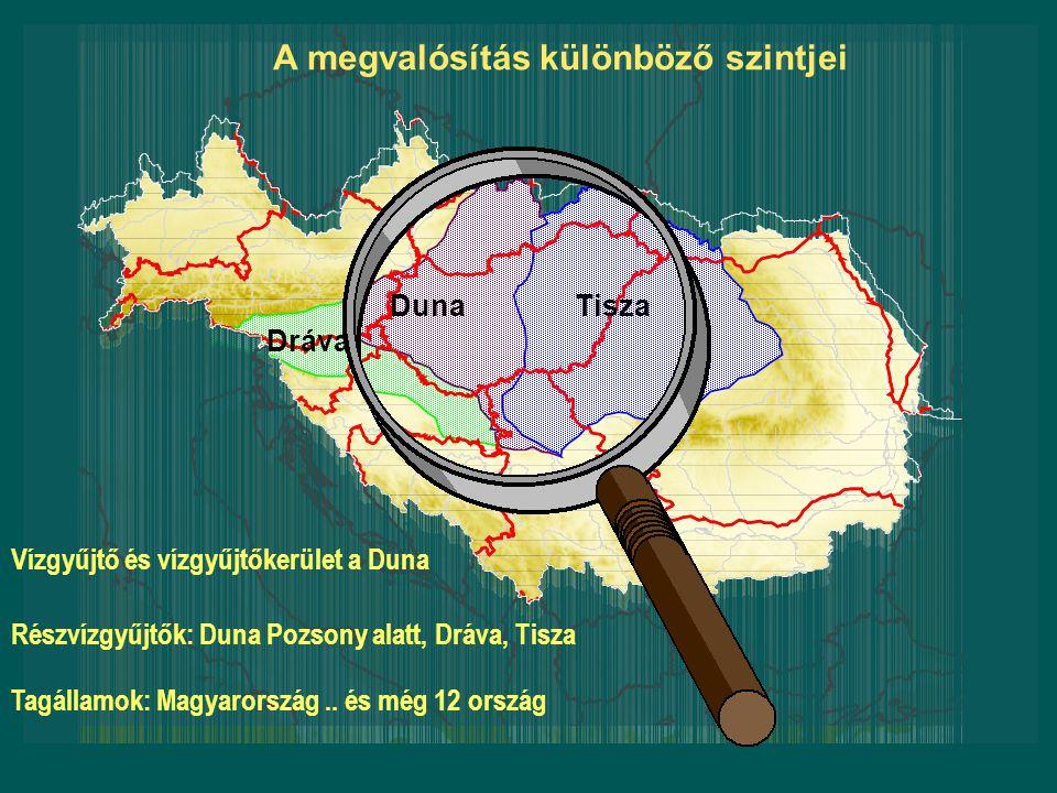 Vízgyűjtő és vízgyűjtőkerület a Duna Részvízgyűjtők: Duna Pozsony alatt, Dráva, Tisza Tagállamok: Magyarország.. és még 12 ország A megvalósítás külön