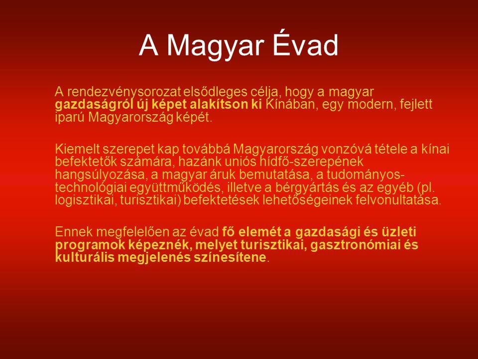 A Magyar Évad A rendezvénysorozat elsődleges célja, hogy a magyar gazdaságról új képet alakítson ki Kínában, egy modern, fejlett iparú Magyarország képét.