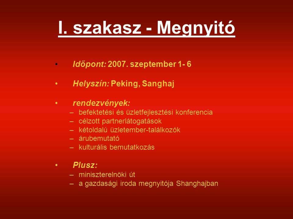 I. szakasz - Megnyitó Időpont: 2007.