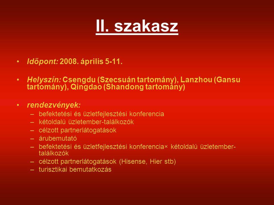 II. szakasz Időpont: 2008. április 5-11.