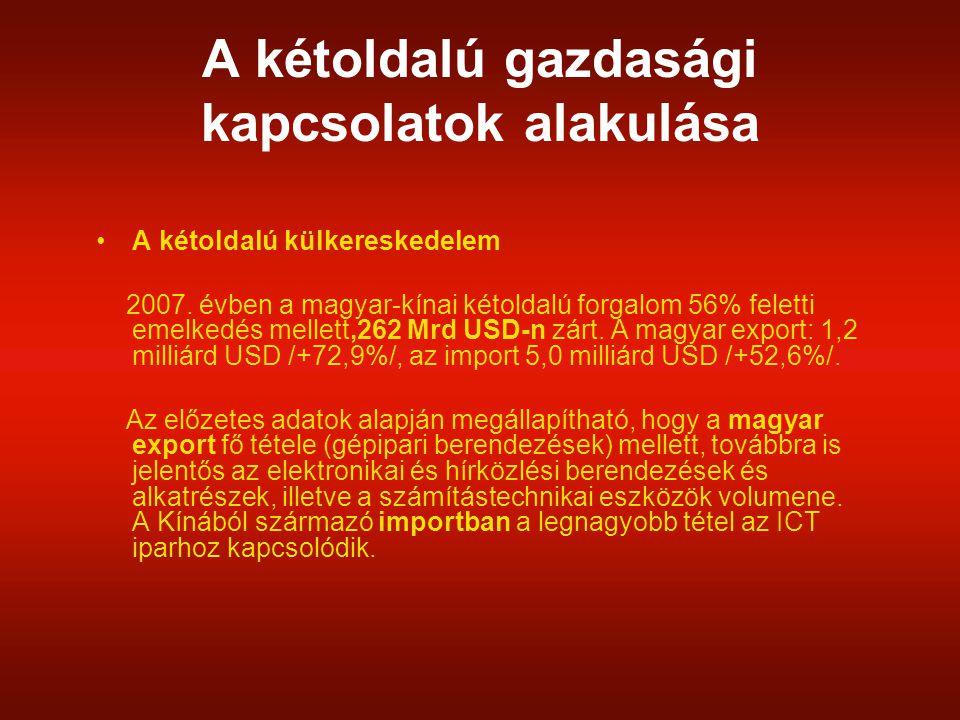 A kétoldalú gazdasági kapcsolatok alakulása A kínai cégek eddig 220 millió USD értékű befektetést hoztak létre Magyarországon.