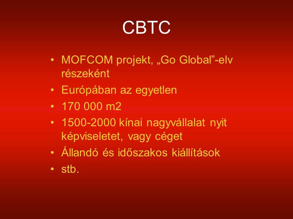 """CBTC MOFCOM projekt, """"Go Global -elv részeként Európában az egyetlen 170 000 m2 1500-2000 kínai nagyvállalat nyit képviseletet, vagy céget Állandó és időszakos kiállítások stb."""