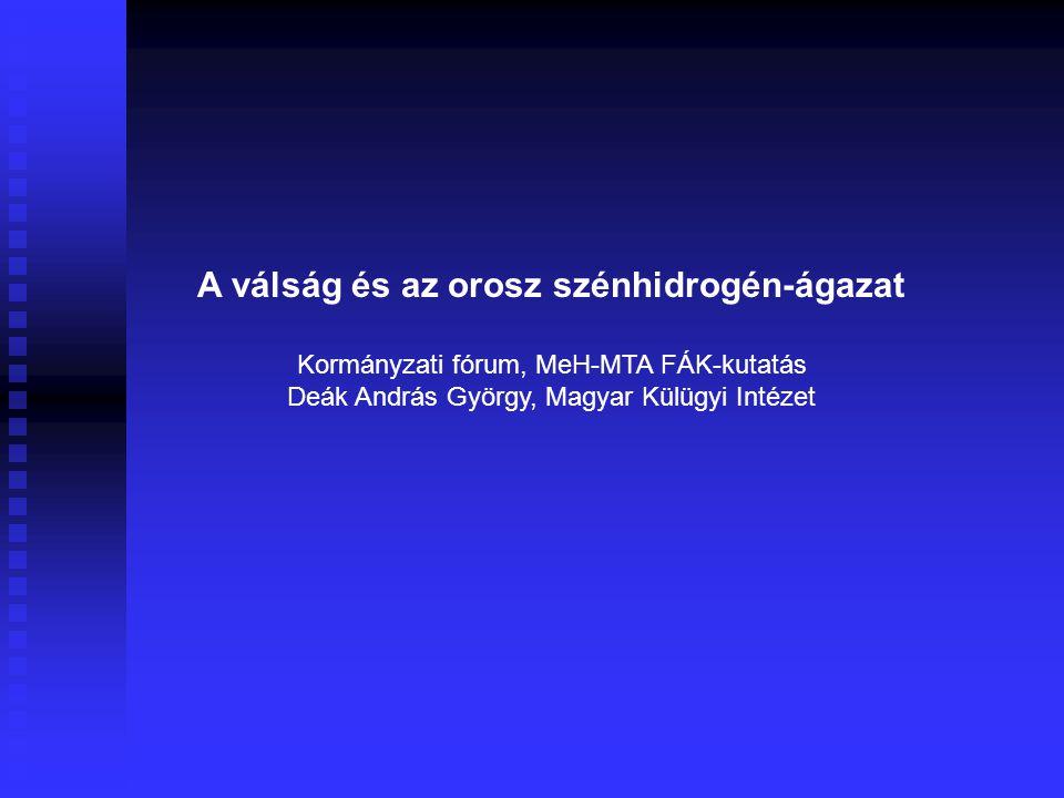 A válság és az orosz szénhidrogén-ágazat Kormányzati fórum, MeH-MTA FÁK-kutatás Deák András György, Magyar Külügyi Intézet