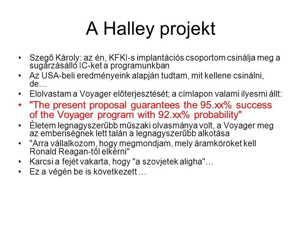 A Halley projekt Szegő Károly: az én, KFKI-s implantációs csoportom csinálja meg a sugárzásálló IC-ket a programunkban Az USA-beli eredményeink alapján tudtam, mit kellene csinálni, de… Elolvastam a Voyager előterjesztését; a címlapon valami ilyesmi állt: The present proposal guarantees the 95.xx% success of the Voyager program with 92.xx% probability Életem legnagyszerűbb műszaki olvasmánya volt, a Voyager meg az emberiségnek lett talán a legnagyszerűbb alkotása Arra vállalkozom, hogy megmondjam, mely áramköröket kell Ronald Reagan-től elkérni Karcsi a fejét vakarta, hogy a szovjetek aligha … Ez a végén be is következett …