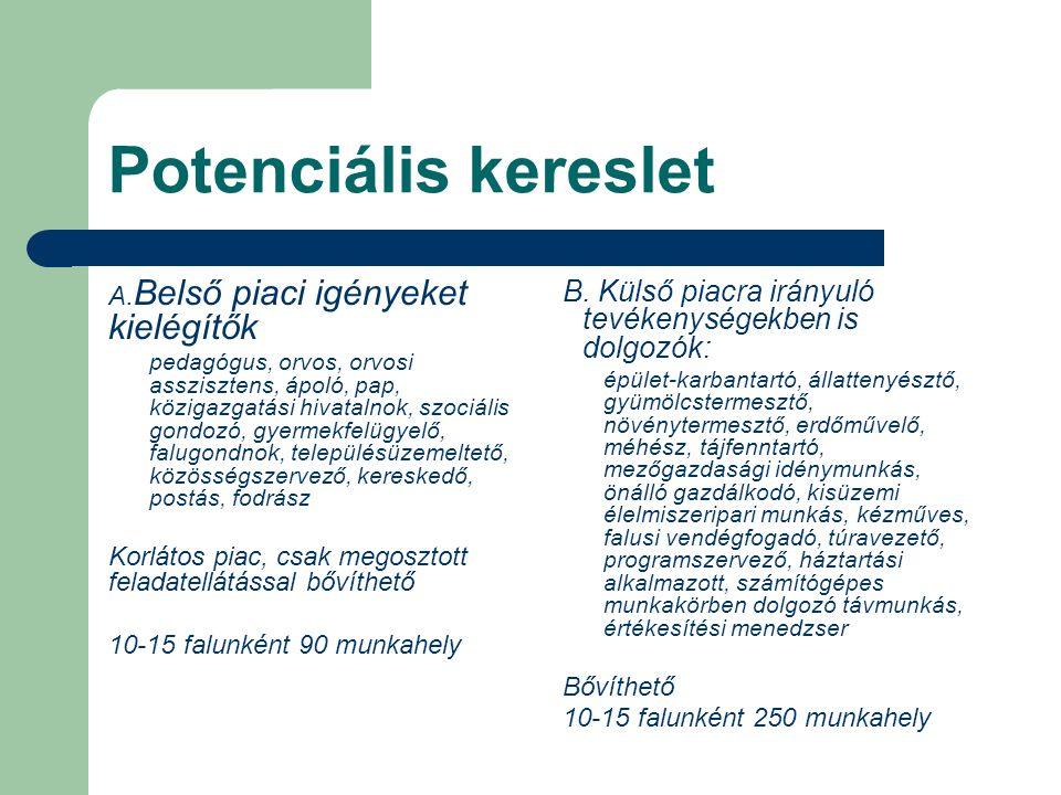 Potenciális kereslet A. Belső piaci igényeket kielégítők pedagógus, orvos, orvosi asszisztens, ápoló, pap, közigazgatási hivatalnok, szociális gondozó
