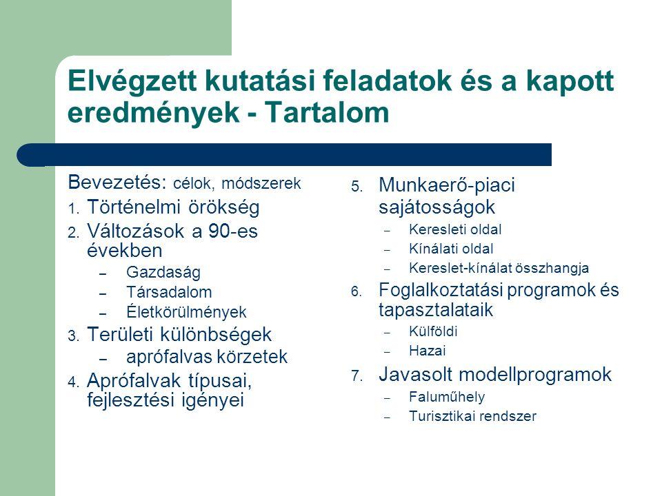 Foglalkoztatási programok és tapasztalataik – külföldi foglalkoztatási törekvések és programok, valamint azok tapasztalatai EU: foglalkoztatási stratégia, EQUAL, KAP, LEADER USA: vidéki közösségek megerősítése program – hazai foglalkoztatási törekvések összegzése Foglalkoztatási, vidékfejlesztési, szociális, gazdaságfejlesztési, területfejlesztési – Az NFT illeszkedése az aprófalvas szükségletekhez Eredmény: – Új, célzott programra van szükség