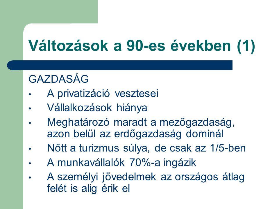 Változások a 90-es években (1) GAZDASÁG A privatizáció vesztesei Vállalkozások hiánya Meghatározó maradt a mezőgazdaság, azon belül az erdőgazdaság do