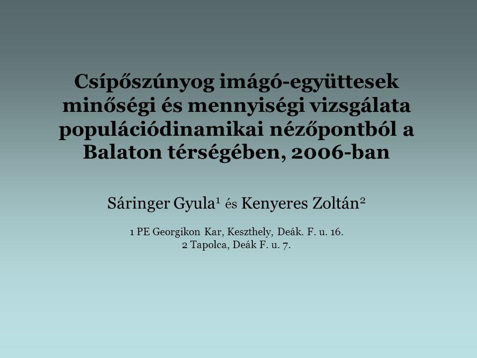 A balatoni csípőszúnyog kutatások 2006-os célkitűzései: a csípőszúnyog fajok populációdinamikájának vizsgálata (a) a lárvatenyésző-helyek egy adott partszakaszon történő térképezésével; (b) a csípőszúnyog imágó-együttesek vizsgálatával az imágók vonatkozásában a lokális denzitás- változások összevetése az országos adatokon alapuló fajspecifikus fenológiai jellemzőkkel a gyérítések lokális együttes-dinamikában játszott szerepének vizsgálata