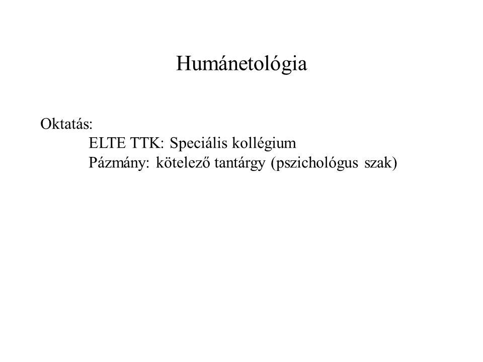 Humánetológia Oktatás: ELTE TTK: Speciális kollégium Pázmány: kötelező tantárgy (pszichológus szak)