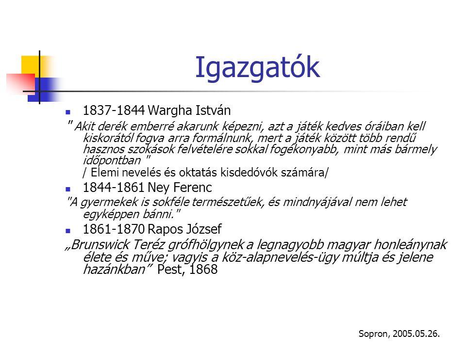 Sopron, 2005.05.26. Igazgatók 1837-1844 Wargha István