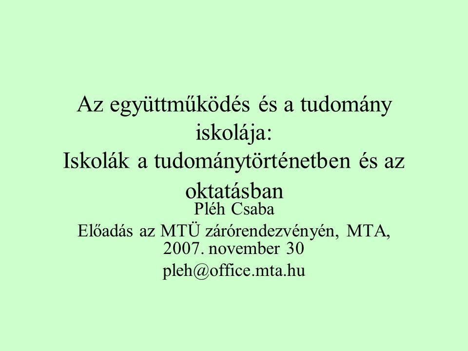 Az együttműködés és a tudomány iskolája: Iskolák a tudománytörténetben és az oktatásban Pléh Csaba Előadás az MTÜ zárórendezvényén, MTA, 2007.