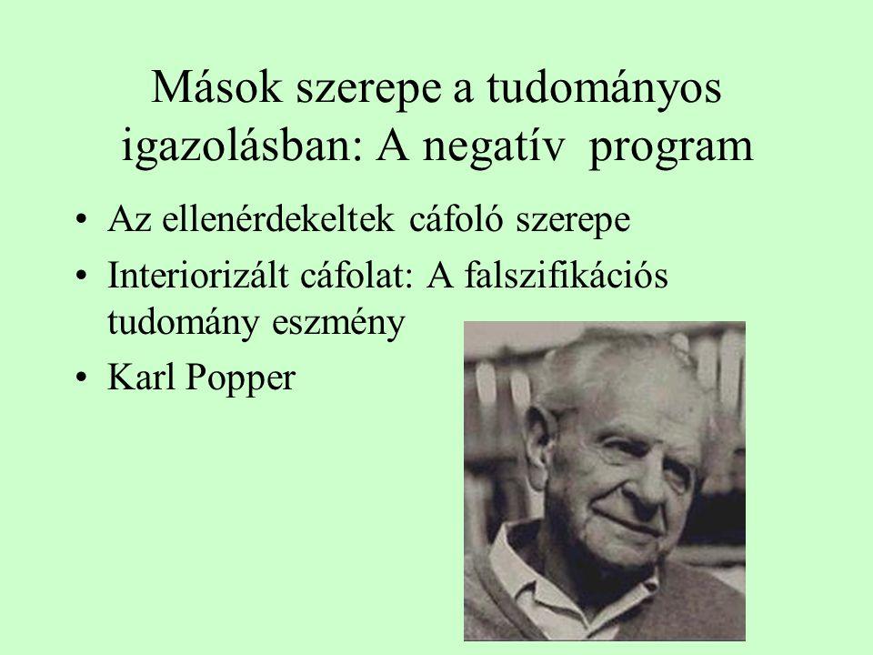 Mások szerepe a tudományos igazolásban: A negatív program Az ellenérdekeltek cáfoló szerepe Interiorizált cáfolat: A falszifikációs tudomány eszmény Karl Popper