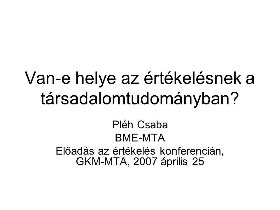 Van-e helye az értékelésnek a társadalomtudományban? Pléh Csaba BME-MTA Előadás az értékelés konferencián, GKM-MTA, 2007 április 25