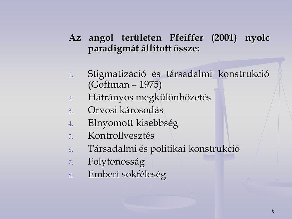 6 Az angol területen Pfeiffer (2001) nyolc paradigmát állított össze: 1. Stigmatizáció és társadalmi konstrukció (Goffman – 1975) 2. Hátrányos megkülö