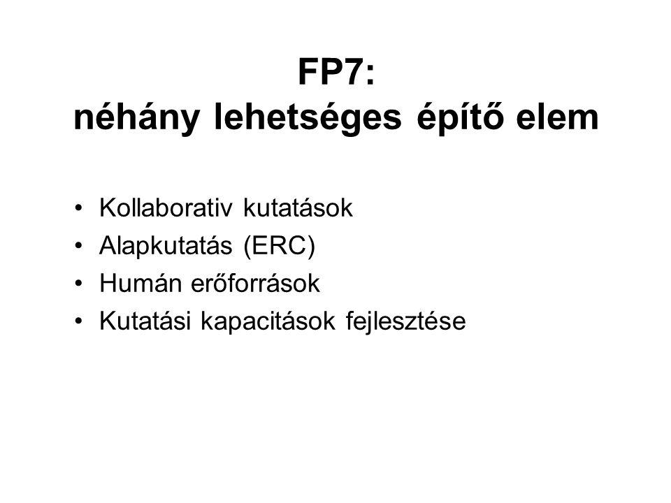 FP7: néhány lehetséges építő elem Kollaborativ kutatások Alapkutatás (ERC) Humán erőforrások Kutatási kapacitások fejlesztése
