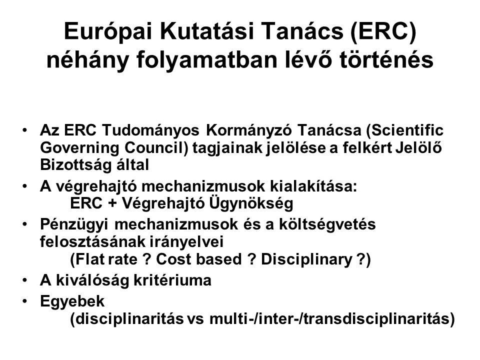Európai Kutatási Tanács (ERC) néhány folyamatban lévő történés Az ERC Tudományos Kormányzó Tanácsa (Scientific Governing Council) tagjainak jelölése a felkért Jelölő Bizottság által A végrehajtó mechanizmusok kialakítása: ERC + Végrehajtó Ügynökség Pénzügyi mechanizmusok és a költségvetés felosztásának irányelvei (Flat rate .