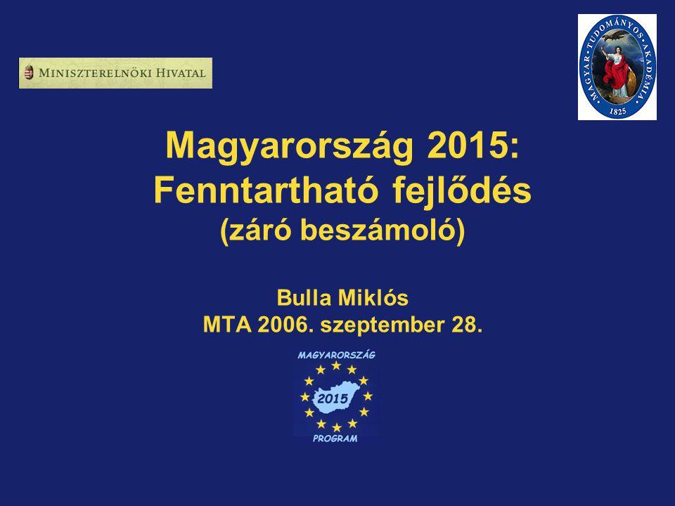 Magyarország 2015: Fenntartható fejlődés (záró beszámoló) Bulla Miklós MTA 2006. szeptember 28.