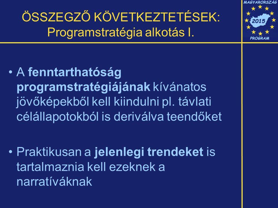 ÖSSZEGZŐ KÖVETKEZTETÉSEK: Programstratégia alkotás I.