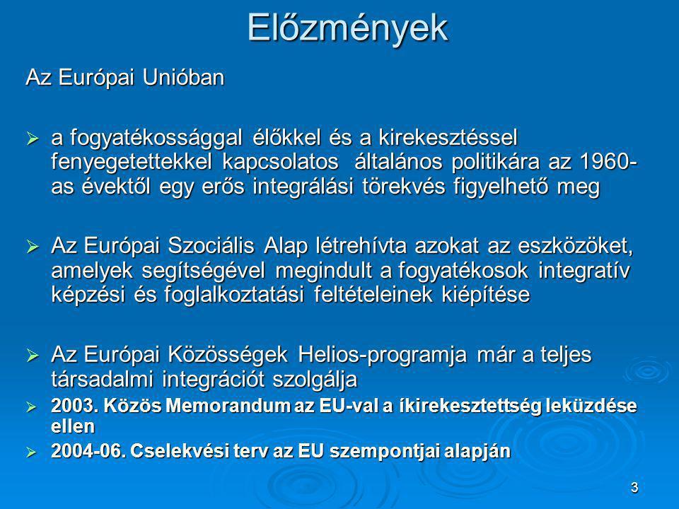 3Előzmények Az Európai Unióban  a fogyatékossággal élőkkel és a kirekesztéssel fenyegetettekkel kapcsolatos általános politikára az 1960- as évektől egy erős integrálási törekvés figyelhető meg  Az Európai Szociális Alap létrehívta azokat az eszközöket, amelyek segítségével megindult a fogyatékosok integratív képzési és foglalkoztatási feltételeinek kiépítése  Az Európai Közösségek Helios-programja már a teljes társadalmi integrációt szolgálja  2003.