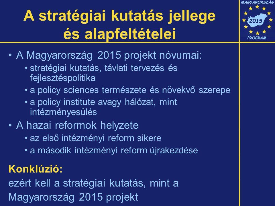 A stratégiai kutatás jellege és alapfeltételei A Magyarország 2015 projekt nóvumai: stratégiai kutatás, távlati tervezés és fejlesztéspolitika a policy sciences természete és növekvő szerepe a policy institute avagy hálózat, mint intézményesülés A hazai reformok helyzete az első intézményi reform sikere a második intézményi reform újrakezdése Konklúzió: ezért kell a stratégiai kutatás, mint a Magyarország 2015 projekt
