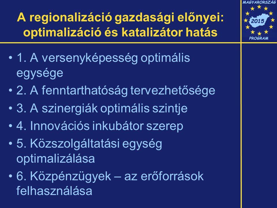 A regionalizáció gazdasági előnyei: optimalizáció és katalizátor hatás 1.