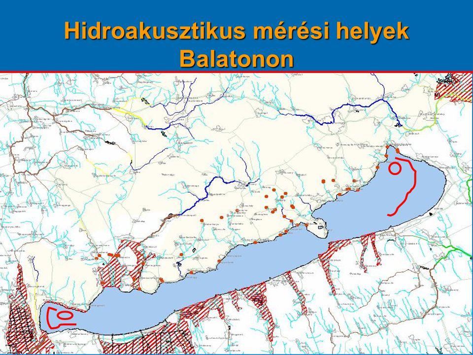 Hidroakusztikus mérési helyek Balatonon