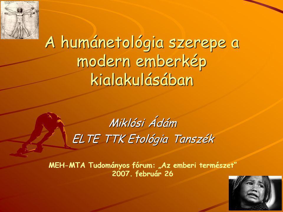 """A humánetológia szerepe a modern emberkép kialakulásában Miklósi Ádám ELTE TTK Etológia Tanszék MEH-MTA Tudományos fórum: """"Az emberi természet"""" 2007."""