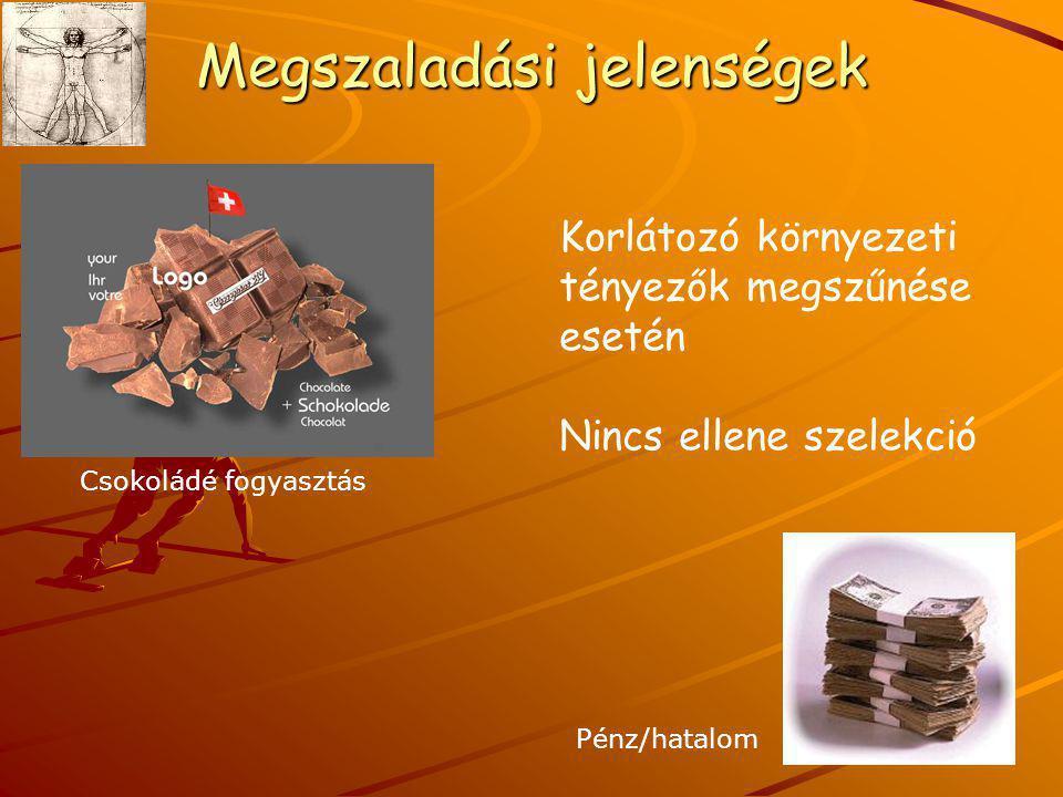 Megszaladási jelenségek Korlátozó környezeti tényezők megszűnése esetén Nincs ellene szelekció Csokoládé fogyasztás Pénz/hatalom