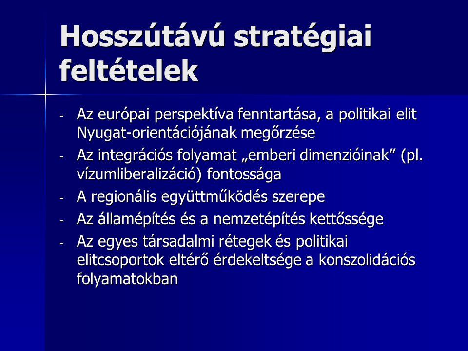 """Hosszútávú stratégiai feltételek - Az európai perspektíva fenntartása, a politikai elit Nyugat-orientációjának megőrzése - Az integrációs folyamat """"emberi dimenzióinak (pl."""