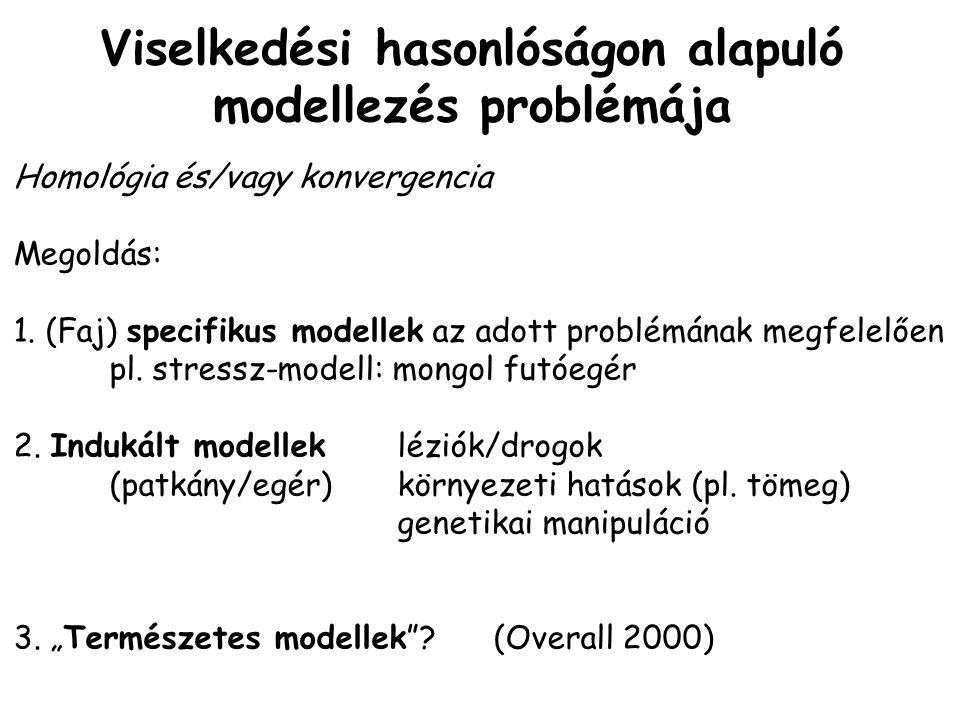 Viselkedési hasonlóságon alapuló modellezés problémája Homológia és/vagy konvergencia Megoldás: 1.