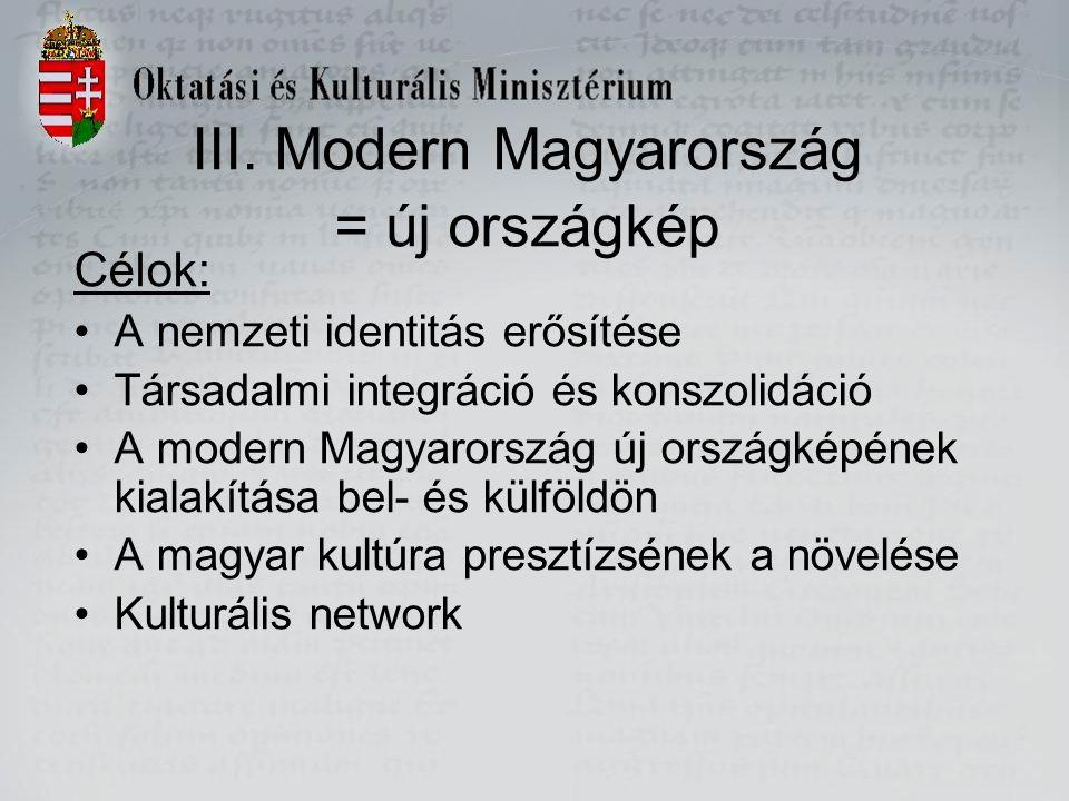 III. Modern Magyarország = új országkép Célok: A nemzeti identitás erősítése Társadalmi integráció és konszolidáció A modern Magyarország új országkép