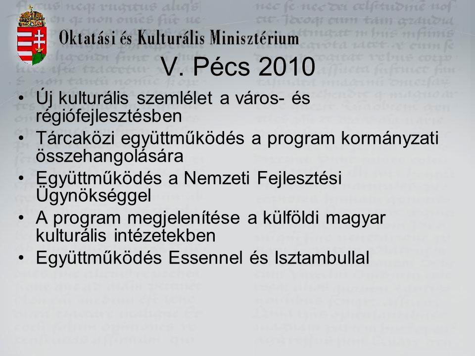 V. Pécs 2010 Új kulturális szemlélet a város- és régiófejlesztésben Tárcaközi együttműködés a program kormányzati összehangolására Együttműködés a Nem