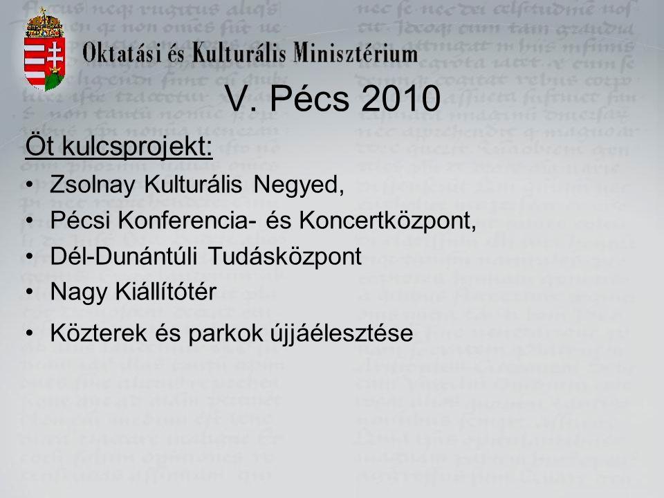 V. Pécs 2010 Öt kulcsprojekt: Zsolnay Kulturális Negyed, Pécsi Konferencia- és Koncertközpont, Dél-Dunántúli Tudásközpont Nagy Kiállítótér Közterek és