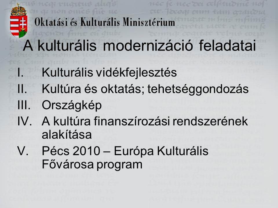 A kulturális modernizáció feladatai I.Kulturális vidékfejlesztés II.Kultúra és oktatás; tehetséggondozás III.Országkép IV.A kultúra finanszírozási rendszerének alakítása V.Pécs 2010 – Európa Kulturális Fővárosa program