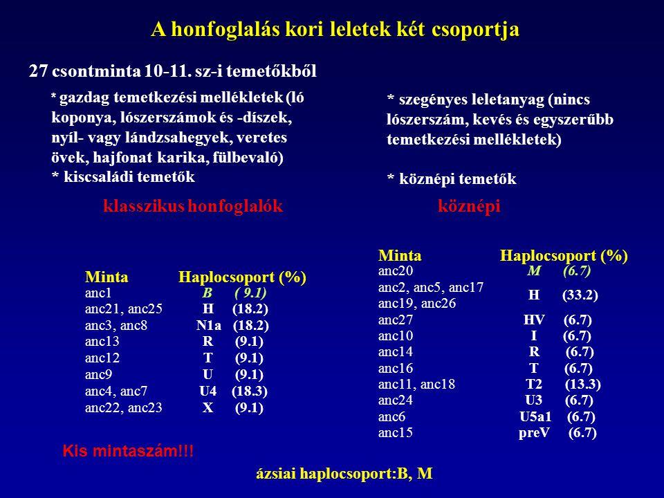 A honfoglaló és a mai magyar nyelvű populációk összehasonlítása honfoglalók mai magyar székely mintaszám: 27 101 76 haplocsop.